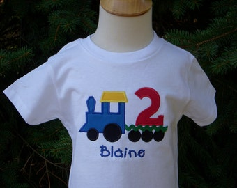 Train Custom Embroidered Personalized Train Long or SS T Shirt Ages 1 2 3 4 5 6 7 8 9 Design