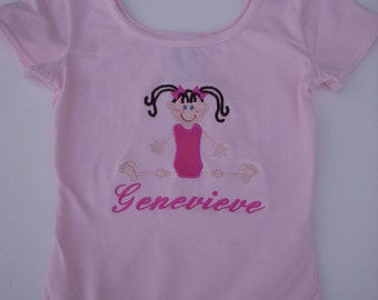 Custom Personalized Girls Ballet Dance or Gymnastics Pink or Black Leotard