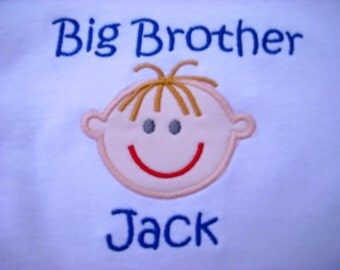 Custom Personalized Embroidered Big Brother T Shirt Match Skin Hair Eye Colors
