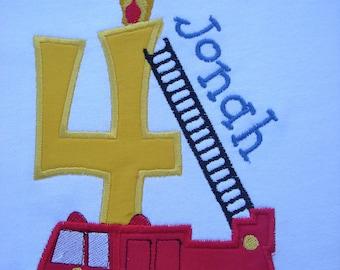 Boy Birthday Shirt Custom Personalized Firetruck Fireman 1st 2nd 3rd 4th 5th 6th Long or SS T shirt