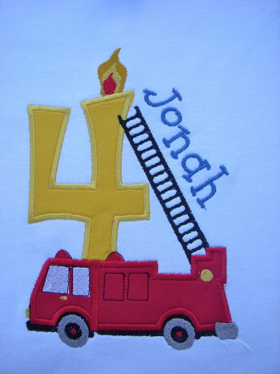 Boy Birthday Shirt Custom Personalized Firetruck Fireman 1st 2nd 3rd 4th 5th 6th Long or SS T shirt