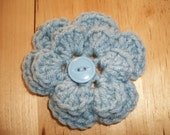 Crochet Flower PonyTail Holder with Button in Blue SALE