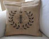 Shabby Chic Burlap Queen Bee 16x16 Pilllow Case Buy Any Two Get One For Free