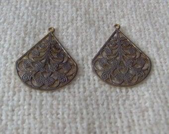 10 antiqued brass filigree drops