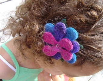 Hand Felted Flower Hair Clip