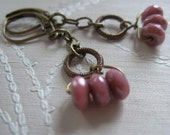 Brass and Dusky pink  -Hoops and rounds earrings