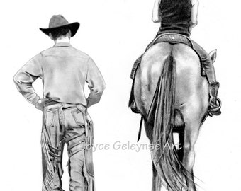 Horse Drawing, INSTANT Download Print Your Own: Riding Lessons Horseback Rider And Cowboy, Realism Equine Art, WHOA Team