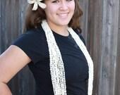 Costume de Tahiti, Colombe shell leis, blanc, une douzaine, coquille de nasau, collier de coquillages de la nasa, 12 brins