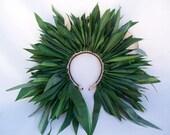 Ti Leaf Head Hei- plain - on headband or with ties- ti leaf head piece, ti leaves, Tahitian costume