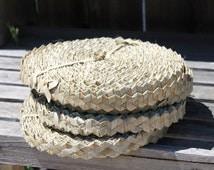 Lauhala trim, rick rack, roll. Wide- natural trim, Tahitian costume decoration, Luau, Tiki hut, Hawaiian decor, panandus rick rack