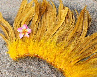 Coque feathers in Golden yellow color- length 6-8 inches