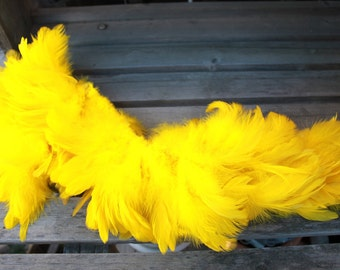 Yellow Schlappen feathers 3-6  inch length, one strung foot, bright yellow, Tahitian costume, rooster feathers,
