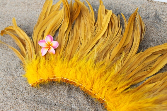 Coque feathers in Golden yellow color- length 8-10 inches