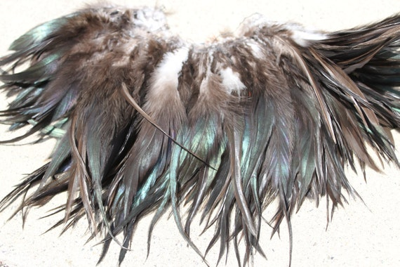 Strung Chinese rooster saddle feathers, length 6-7 inches-color natural dark brown