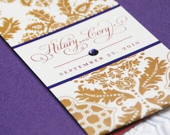 Elegant Brocade Pocket Fold Wedding Invitation in Red, Gold and Purple (Autumn) - Design Fee