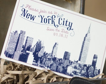Vintage Skyline Postcard Save the Date (New York) - Design Fee