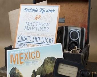 Vintage Typography Wedding Invitation (Cabo San Lucas, Mexico) - Design Fee
