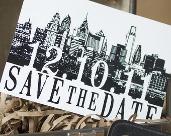 Vintage Skyline Postcard Save the Date (Philadelphia) - Design Fee
