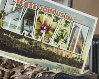 Vintage Large Letter Postcard Save the Date (Hawaii) - Design Fee