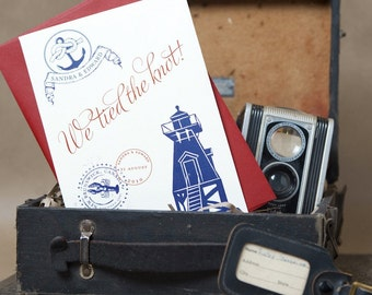 Vintage Travel Wedding Invitation (Pocket Fold, Ivory Red and Blue) - Design Fee