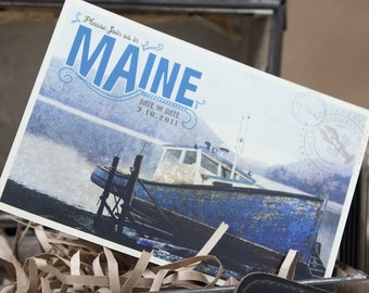 Vintage Travel Postcard Save the Date (Maine) - Design Fee
