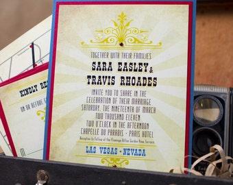 Vintage lobster wedding invitation design fee vintage las vegas wedding invitation pocket card design fee stopboris Choice Image