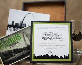 St. Louis City Skyline Wedding Invitation (Pocket Card) - Design Fee