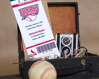 Baseball Ticket Birthday Invitation - Design Fee