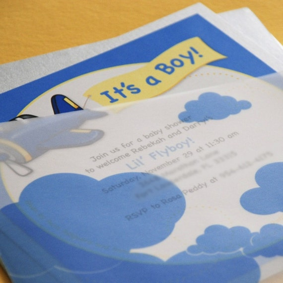 Lil' Fly Boy Airplane Baby Shower Invitation - Design Fee
