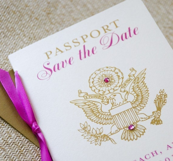 Pink, Gold and Ivory Passport Save the Date (U.S. Seal) - Design Fee