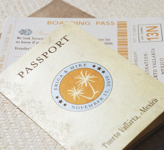 Mini Vintage Palms Passport Wedding Invitation (Mexico) - Design Fee