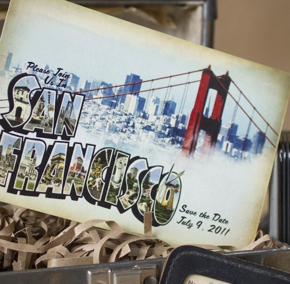 Vintage Large Letter Postcard Save the Date (San Francisco, California) - Design Fee