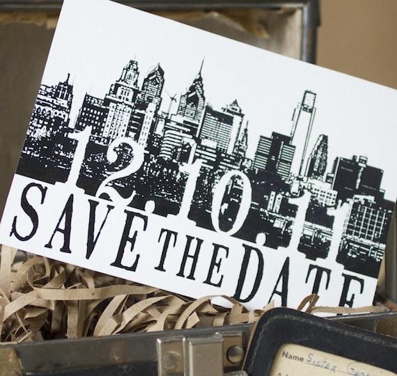Vintage Skyline Postcard Save the Date (Philadelphia) - Design Fee