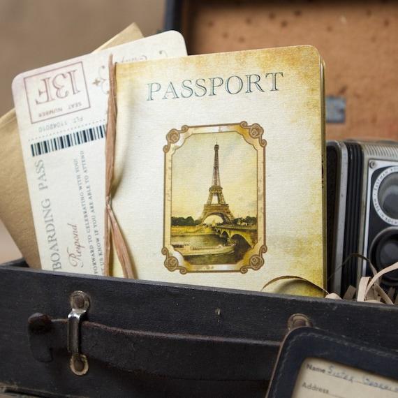 vintage passport wedding invitation paris europe design. Black Bedroom Furniture Sets. Home Design Ideas