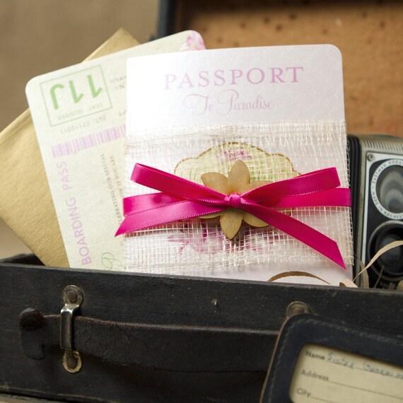 Hibiscus Passport Destination Wedding Invitation (Hawaii) - Design Fee