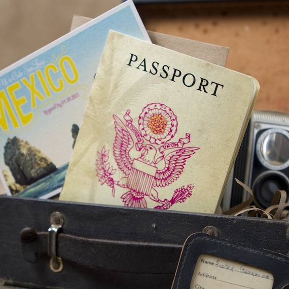 Vintage Passport Destination Wedding Invitation (Mexico) - Design Fee