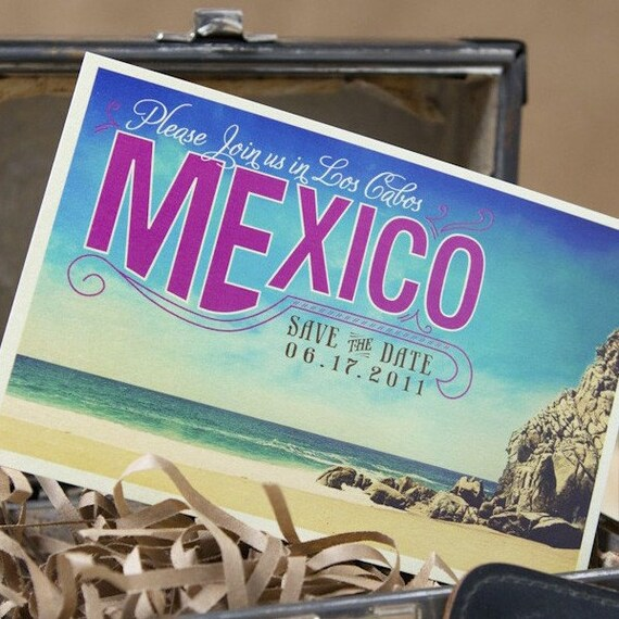 vintage tropical postcard save the date los cabos mexico