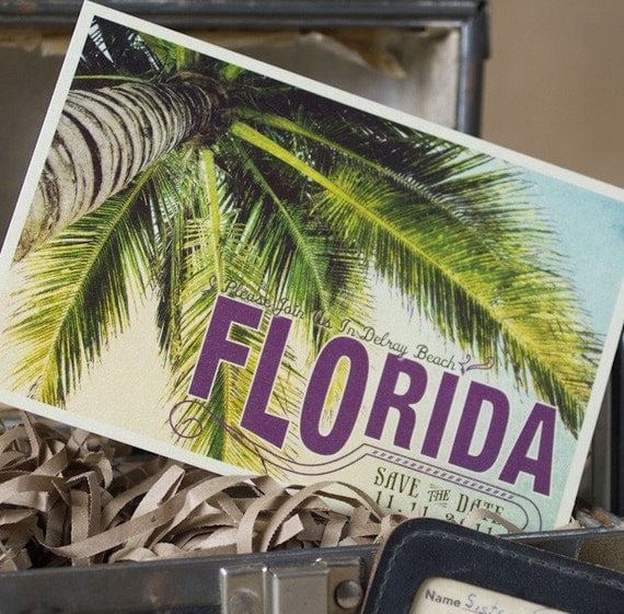 Vintage  Postcard Save the Date  (Florida) - Design Fee