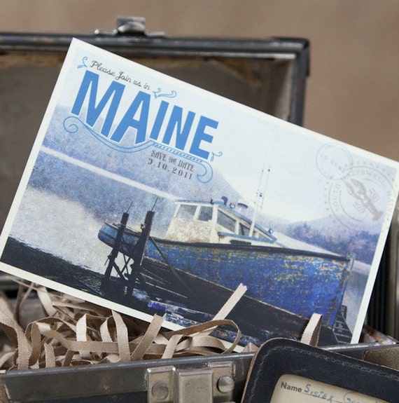 Vintage Travel Postcard Save the Date (Maine) - Design Fee