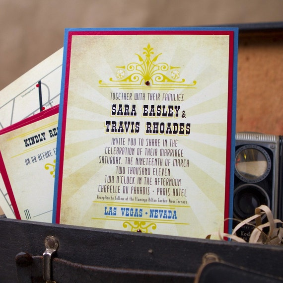 Vintage Las Vegas Wedding Invitation (Pocket Card) - Design Fee