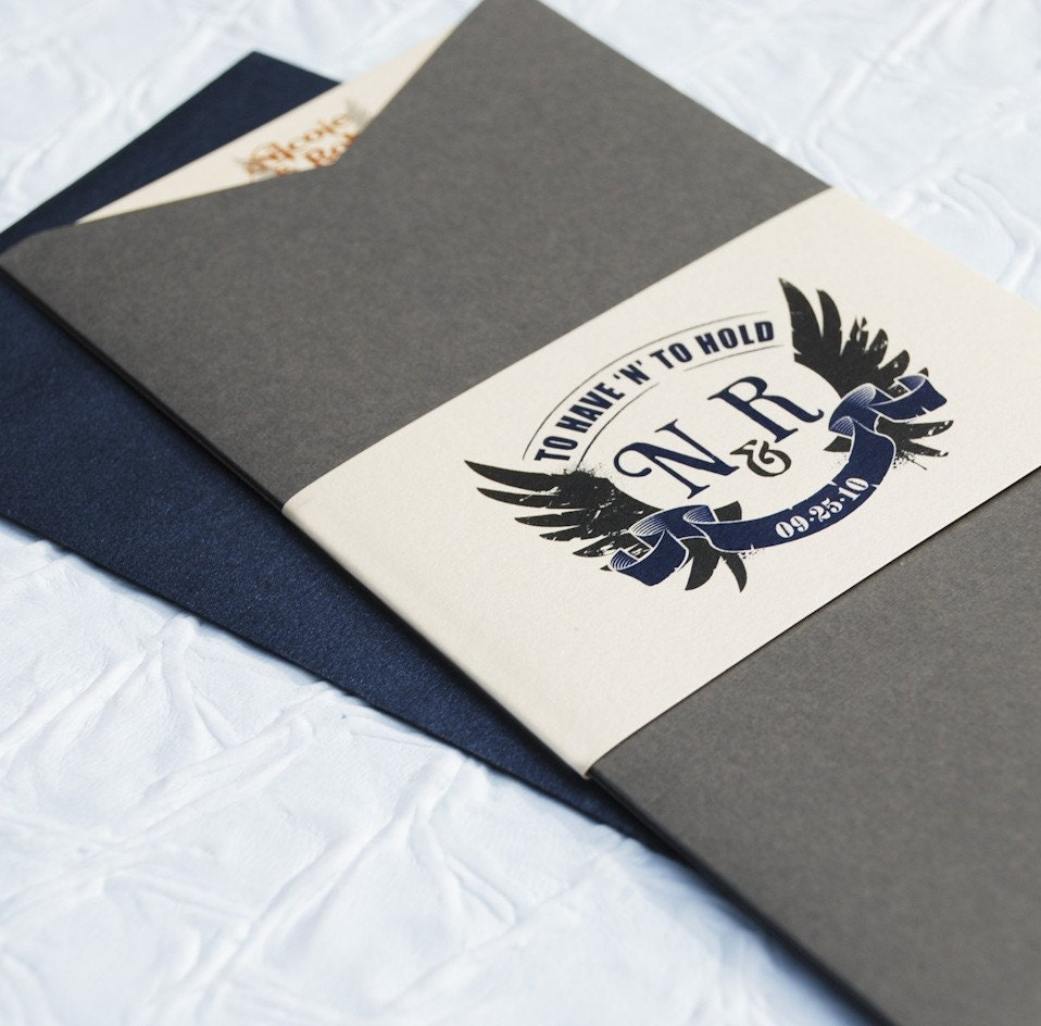 Rock N Roll To Have And To Hold Wedding Invitation Charcoal