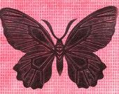 Pink Black Butterfly Monoprint