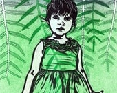 Baby Girl Green Pepper Tree Print Linocut Collograph