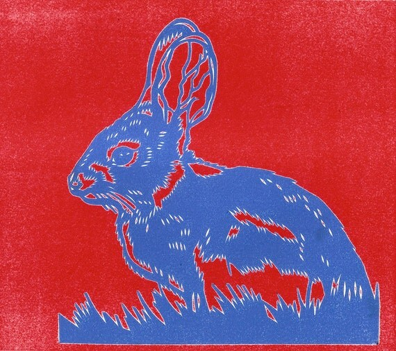 Rabbit Red Blue Papercut Print