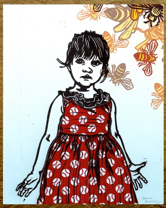 Baby Girl Baseball Bee Print Linocut Silkscreen