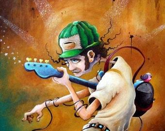 Bass Player - ORIGINAL acrylic painting on panel framed