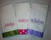 Pink and Green Fushia Lavender Polka Dot Burp Cloths Personalized Monogrammed Set of 3
