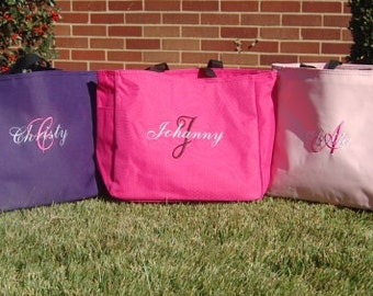 Monogrammed Tote Bag Personalized - Set of 5 -