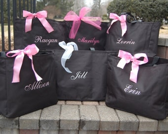 Monogrammed Tote Bag Personalized - Set of 8 -