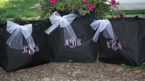 Bride Tote Bag Bridesmaid Totes - Set of 7 -